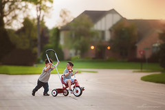 Together (don{thao} photography) Tags: street family friends bike radio flyer play unitedstates brothers outdoor cousins michigan cousin suburbs suburb radioflyer bloomfieldhills