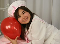 Sailor Shojo Studied Safe Sweet (emotiroi auranaut) Tags: red cute girl beautiful beauty smile face smiling female hair toy bed uniform pretty hand sweet feminine balloon adorable charm teen grin grinning teenager sailor lovely charming squeak teenage femininity