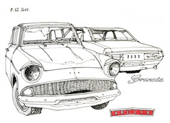 deux Ford, à l'abandon... dans le Tarn et Garonne (gerard michel) Tags: ford car sketch belgium granada anglia croquis ancêtres