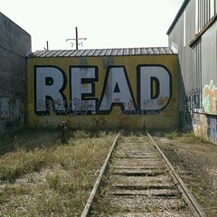 The reading train has left the station (BradPerkins) Tags: abandoned graffiti message traintracks