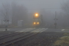 NS W6T on the R&N (Hank Rogers) Tags: pa pennsylvania pittstontownship train rr railroad ns rn rbmn norfolksouthern readingnorthern tracktwo fog foggy weather autumn dense lights double track crossing w6t trainw6t nsw6t 8394 ns8394 freight industry industrial economy economic move movement products productivity rail system traffic