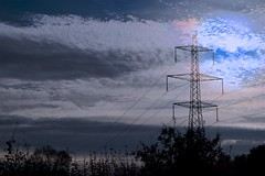 Break of Gray (violetchicken977) Tags: telegraphtuesday htt electricitypylons clouds silhouettes