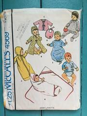McCall's 4569 (kittee) Tags: kittee vintagesewing vintagepatterns mccalls 4569 mccalls4569 1975 1970s 3months baby infant child layette bunting kimono bonnet sacque bib nightgown pajamas shirt diaper panties blanket sleepwear sewing