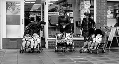 Buy one get one free (phil anker) Tags: people street mono buggy salisbury twins juxtaposition fujix70