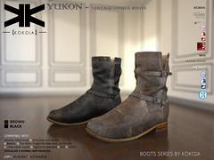 Yukon :: Unisex Boots :: 2 Colors ({kokoia}) Tags: unisex kokoia shoes man woman belleza maitreya tmp themeshproject flat bare boots eve adam signature