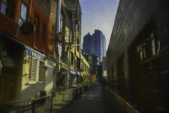 Post Alley, Seattle (Sara Gray Photography) Tags: postalley seattle texture textures topazlabs topazimpression photoart city morning alley buildings digitalart photomanipulation exoticimage