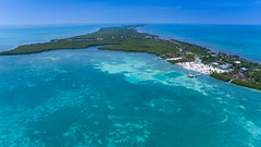 Aerial view of the Caribbean coast of Caye Caulker, Belize