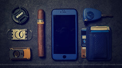 With Me Wherever I Go ||    (dr.7sn Photography) Tags: blue 6 car leather nikon key wallet cigar plus lighter cutter lightroom iphone cohiba        d7100