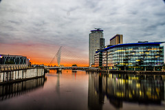 Salford Quays (patrick.lovatt) Tags: city light water buildings landscape manchester canal media bbc shipping salford quays