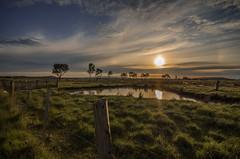 Donnybrook Sunrise (RissaJT_23) Tags: sun clouds sunrise fence landscape pentax dam country donnybrook pentaxk50