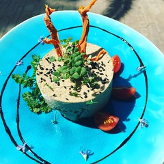 Shitake mushroom pâté.. So vegan, so good! Our chefs are artists!!!!!