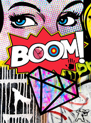 BOOM-1sans-marge (PASLIER MORGAN) Tags: street city nyc pink blue girls red people woman usa newyork color art texture love colors girl beauty fashion rose collage photoshop vintage poster rouge graffiti photo cool divers funny downtown artist all arty gorilla amor couleurs girly collages armas tag graf femme drop pop bleu marylin monroe anarchy aerosol emergency ado mode effect colt couleur corazon ville affiche artiste grafismo armes jeune effet affiches gorille afficher backgound