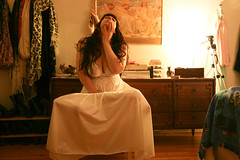 365 Day 247 Outtake #2 (bohemea) Tags: selfportrait self vintage bedroom longhair lingerie pale slip accessories 365 brunette bangs outtake nightgown day247 photochallenge 2015 boabeille