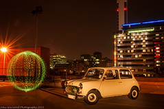 Doris The Mini (JRT ) Tags: lightpainting cold car night lights birmingham nikon wheels orb mini icon led bttower carpark starburst multistory jewelleryquarter 5 2470f28 d300s absoluteimages jrwphotography johnwarwood flickrjrt jrwphotographycouk