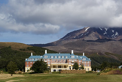 favourite hotel (Burnt Out Chevrolet) Tags: park new blue summer cloud white mist mountain green weather rock fog landscape grey volcano scenery plateau sony gray central 15 roadtrip zealand national cover underneath february feb alpha tongariro chateau a200 volcanic ruapehu 2015