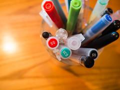 Pen Holder with Pens on Desk (Image Catalog) Tags: desktop writing work office desk drawing group pens markers woodgrain penholder publicdomain