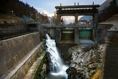 Dam on the  Adige (edit/2) (Federico Donati) Tags: dam longexposure sunset nisind1000 tramonto suedtirol river meran water tel italy diga adige autumn merano rocks