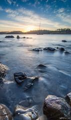 Sunset @ Okehampton Bay (Explored #330 - 6/2/2017) (Kate Caston) Tags: beach coastal tasmania 2017 nikon leefilters eastcoast sunset bay ocean sea evening boat rocks explored