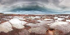 Dark over silver pools (Louise Denton) Tags: storm eastpoint darwin nt northernterritory wetseason tropical cloud lightning dark moody blue rocks beach sea panorama