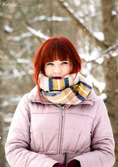 (Kalev Lait photography) Tags: snowy snow portrait vivid redhead scarf warm cold cute woman people outdoor winter forest explore nature photoshoot blueeyes girl darklips snowing