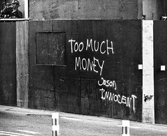 Too Much Money 2 (PAJ880) Tags: brooklyn hoarding construction worker tag too much money bw mono street nyc downtown urban
