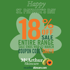 SAVE 18% OFF McArthur Skincare Entire Range Sale (mcarthurskincare) Tags: mcarthurskincare pawpaw papaya onsale salenowon sale skincare haircare bodycare stpatrick shamrock kissme charms luckycharms stpatricksday green irish ireland paddy paddysday luckoftheirish potofgold
