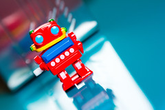 Retro Robot 2017_ColourSplash_8879_ By Phil Ovens (Pitcher_Phil) Tags: robot retro vintage colourful toy reflecions bright shiny plastic lensbaby bokeh windup mechanical