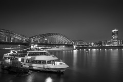 Cologne at night (photogo.pl) Tags: bridge bw ship koln cologne city night