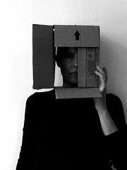 out of the box self portrait (Ines Seidel) Tags: bw blackandwhite box cardboard self selfportrait selbstporträt selfie selbst sw karton schachtel