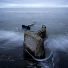 Coastal Defences - Wirral (scon4061) Tags: coastaldefences sea seaside wirral liverpool mersey merseyside longexposure uk england leasowe waves tide littlestopper fujixt1 fuji14mmf28 leefilters newbrighton irishsea burbobank windfarm hightide