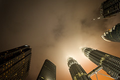KL! (Mopple Labalaine) Tags: kl kualalumpur malaysia petronas towers twin skyscraper building architecture clouds pentax night city adaptall tamron 17mm sp