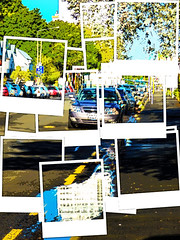 The Gutter Puddle (Steve Taylor (Photography)) Tags: yellowline puddle gutter parking art digital road street lamppost sign tarmac water newzealand nz southisland canterbury christchurch city cbd trees branch texture car automobile auto polaroid