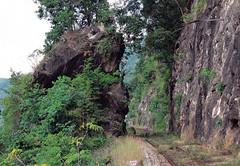 Pictures of a postcard - Thailand - Burma Railway (railasia) Tags: thailand 2000 postcard cutting infra kanchanaburi alignment srt burmarailway wangpho metergauge