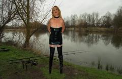 Angel at Dusk (team stalker) Tags: woman lake sexy stockings panties fishing shiny boots blonde fishnets carp satin milf pvc sexylegs carpie