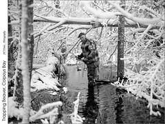 Trapping Beaver, Colpoys Bay (jwvraets) Tags: winter blackandwhite bw snow film beaver brucepeninsula trap trapper wiarton colpoysbay ilfordfp4 niagaraescarpment pentax6x7 trapping pentax90mmf28leafshutter