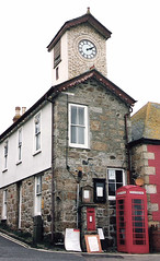 Cornwall.  March 2nd.-8th. 1997 (Cynthia of Harborough) Tags: streets architecture telephone towers 1997 boxes clocks notices clocktowers