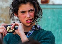 Another extinct article? (ybiberman) Tags: israel jerusalem meahshearim girl adolescent ultraorthodox strictlyorthodox jew camera earring portrait candid streetphotography