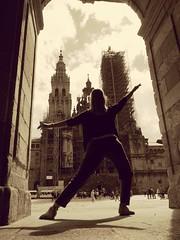 Anette dancing away, Santiago de Compostela!