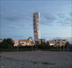 Turning Torso (ArtDen82) Tags: sweden malmö oresund baltic sea beach long exposure sunset sky clouds waterfront skyscraper architecture design calatrava