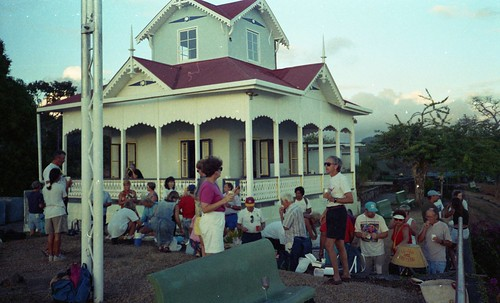 The yachtie crowd at the hilltop lookout house