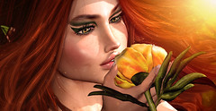 Peony scent (meriluu17) Tags: sg peony slackgirl yellow redhead elf elven mysthic magical fantasy surreal closeup portrait green natural people forest wild