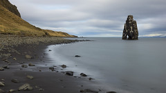 One more chapter of the petrified troll (lunaryuna) Tags: iceland northwesticeland vatnsnespeninsula fjord coast landscape seascape shoreline hvitserkur monolith beast petrifiedtroll beauty nature blackvolcanicbeach pebbles cliff solitude le longexposure lunaryuna