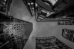Things are starting to look up... (Suggsy69) Tags: nikon d5200 skyscraper up vertical london canarywharf eastlondon buildings windows fisheye fisheyelens blackwhite bw blackandwhite monochrome mono