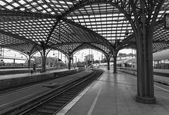 Cologne Railway Station (l4ts) Tags: europe germany rhinevalley northrhinewestphalia cologne colognerailwaystation hohenzollernbridge riverrhine icetrain kölnhauptbahnhof architecture blackwhite