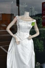 Four weddings (stephen trinder) Tags: stephentrinder stephentrinderphotography wedding bridal marriage tradition special window opshop salvationarmy bride christchurchnewzealand secondhand bargains white pretty dresses christchurch display shop woolston reflections sales frock