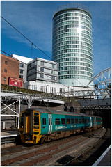 Welcome to Birmingham (Resilient741) Tags: class 158 arriva trains wales atw skud 158836 158839 city birmingham railway br british rail dmu diesel multiple unit rotunda building skyscraper bull ring new street station portrait style photo photography