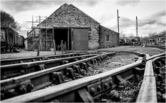 Tanfield Railway . (wayman2011) Tags: fujifilmxt10 lightroom wayman2011 bwlandscapes mono railways railwaylines sheds workshop tanfield countydurham uk