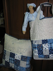 Blue children set (svitlana.pillards) Tags: handmade tilda cushion patchwork blue bag