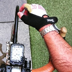 That time of year when your arms match your bar tape  #tanlines #summer #rain  #Catford_cc #garmin #fixed #fixedwheel #lfgss (fixedwheelnut) Tags: rain square tan squareformat fixed juno beerbike fixedwheel catfordcc iphoneography instagramapp uploaded:by=instagram