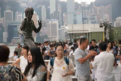Bruce Lee (tommaso.amici) Tags: china light red summer panorama hk woman green girl photoshop d50 dark stars temple hongkong boat kid nikon ship child cs2 taxi bruce crowd chinese july cc adobe lee 29 avenue kowloon brucelee lightroom wanchai avenueofstars cs3 cs4 cs1 cs6 cs5